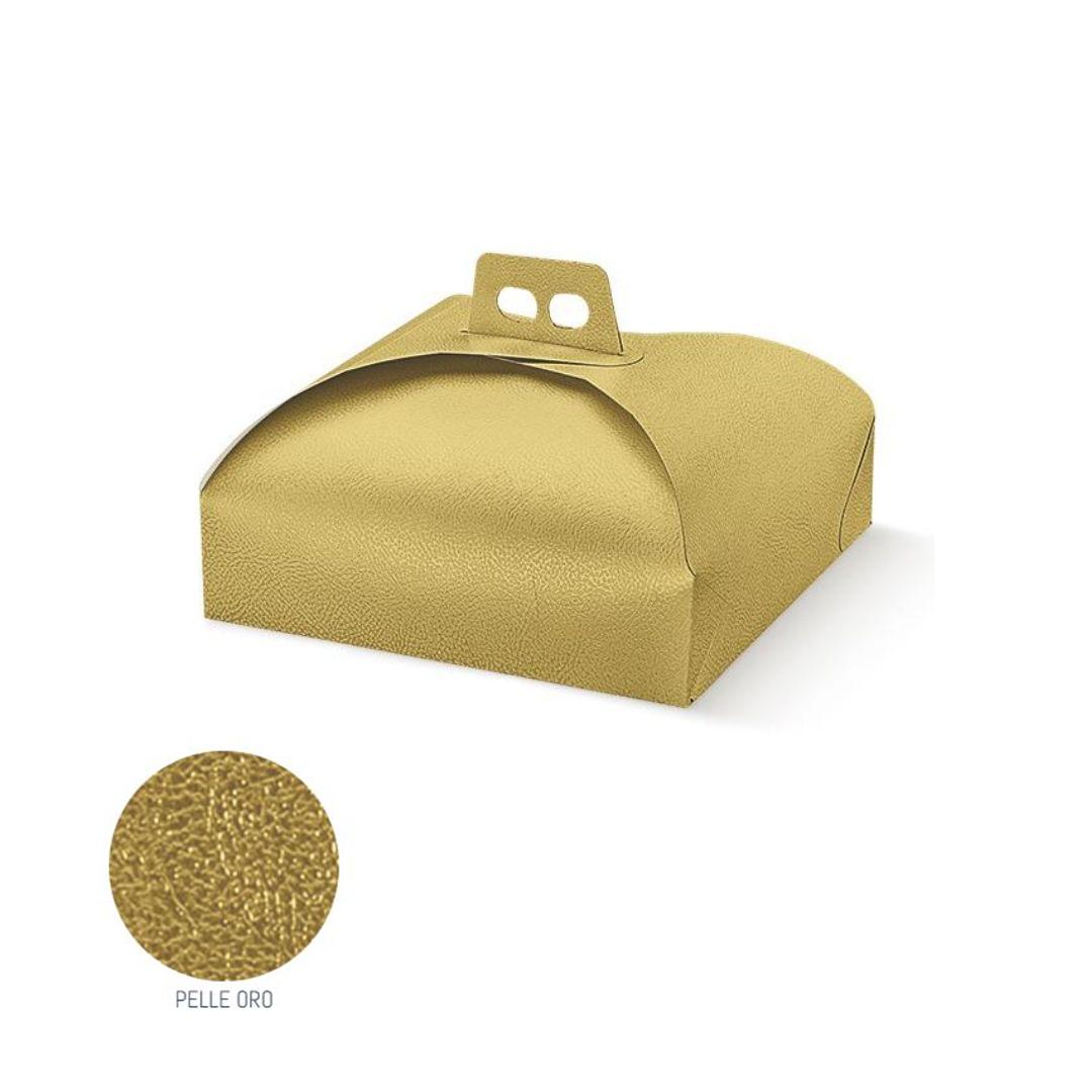 scatola porta torte pelle oro cod 33644c